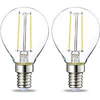 Amazon Basics Bombilla LED E14, P45, 2W (equivalente a 25W), Filamento- 2 unidades