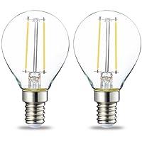 AmazonBasics Petite ampoule LED E14 P45 type globe, avec culot à vis, 2.1W (équivalent ampoule incandescente de 25W), transparent avec filament - Lot de 2