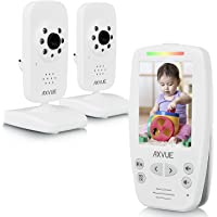 "AXVUE E662 Video Baby Monitor with Two Cameras and 2.8"" LCD, Night Vision, Night Light, Temperature Detection, 2-Way Talk, VOX, Sound Lights, Power Saving On/Off, Expandable Cam"