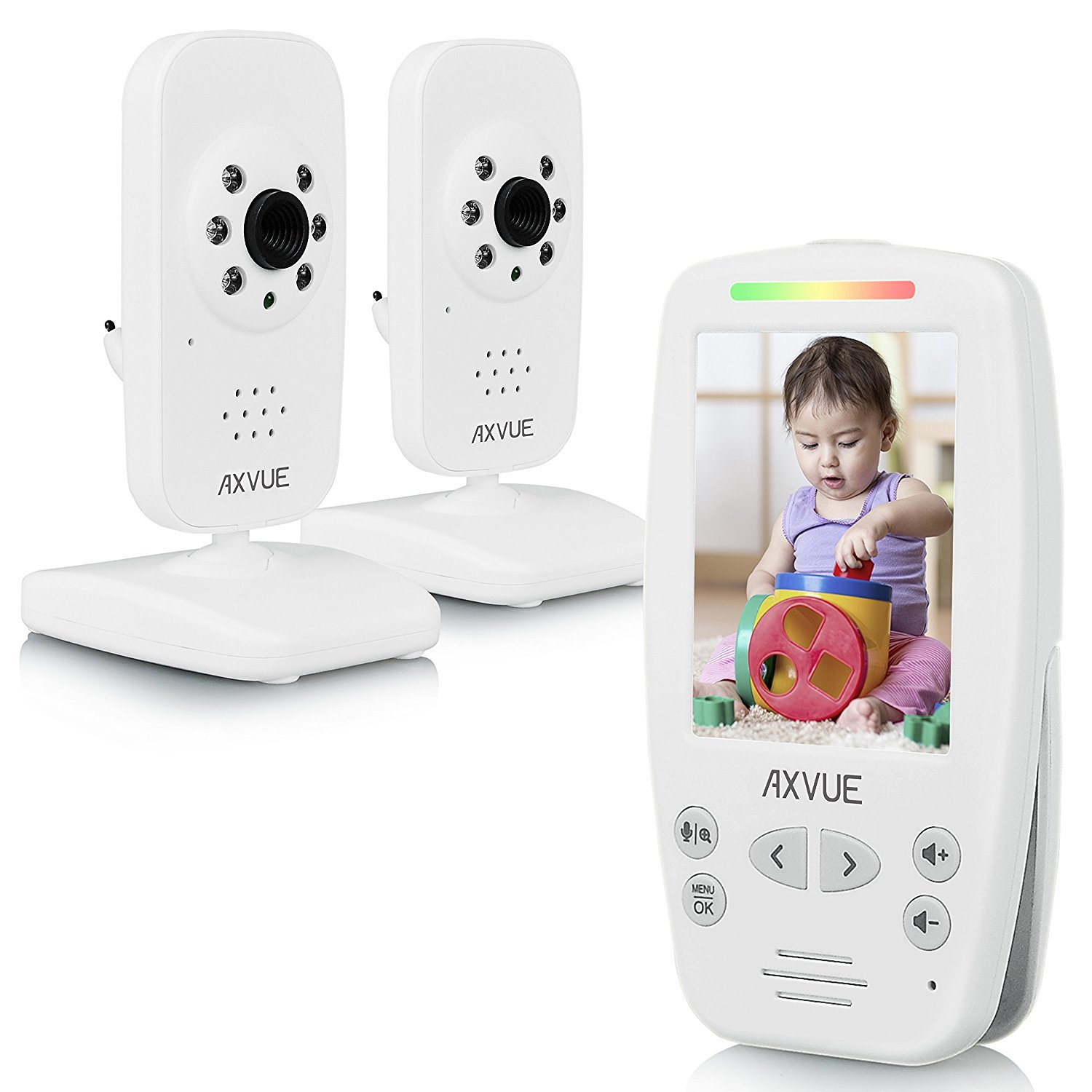 """AXVUE E662 Video Baby Monitor with Two Cameras and 2.8"""" LCD, Night Vision, Night Light, Temperature Detection, 2-Way Talk, VOX, Sound Lights, Power Saving On/Off, Expandable Cam"""
