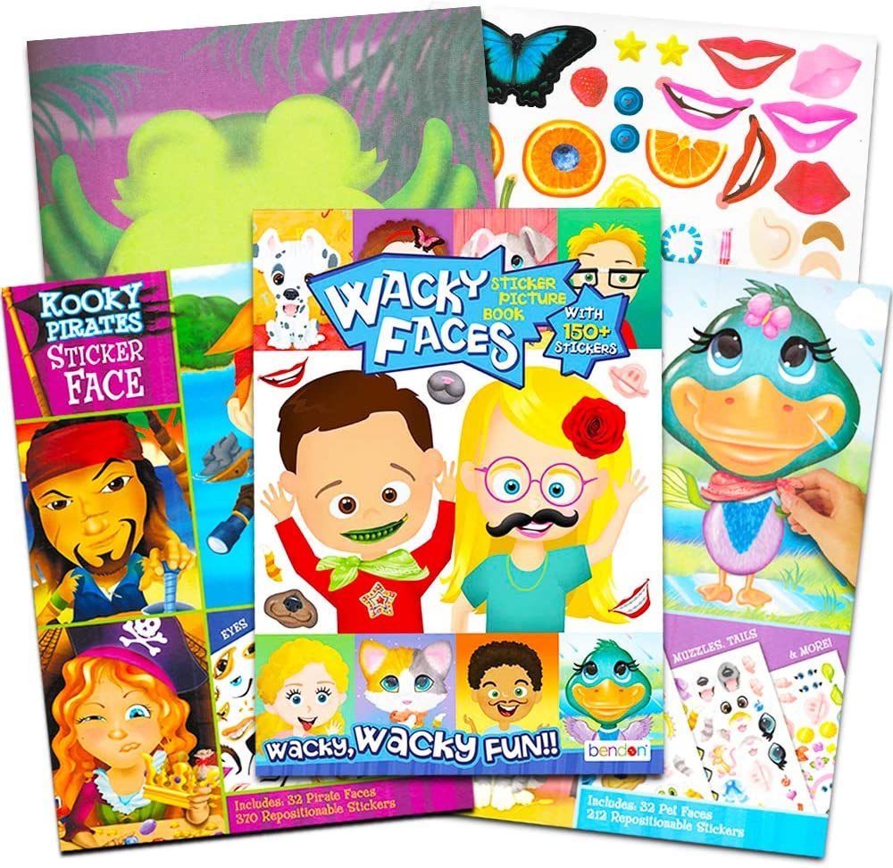 Make a Face Sticker Books for Kids Toddlers - Set of 3 Jumbo Books with Over 90 Faces and 850 Stickers (Sticker Face Activity Set)