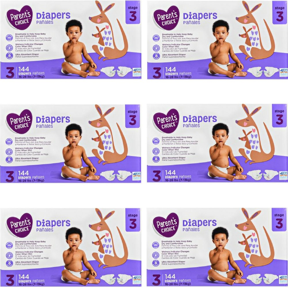 Amazon.com: Branded Parents Choice Diapers (Size 3 (144 ct), 6 Pack): Health & Personal Care