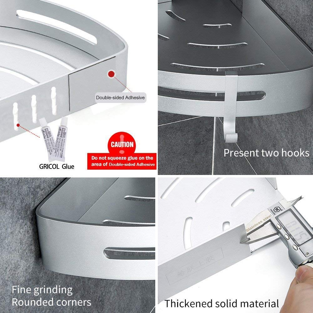 2 Pack Wenzhou Juli Network Company Gricol Bathroom Shower Shelf Triangle Wall Shower Caddy Space Aluminum Self Adhesive No Damage Wall Mount