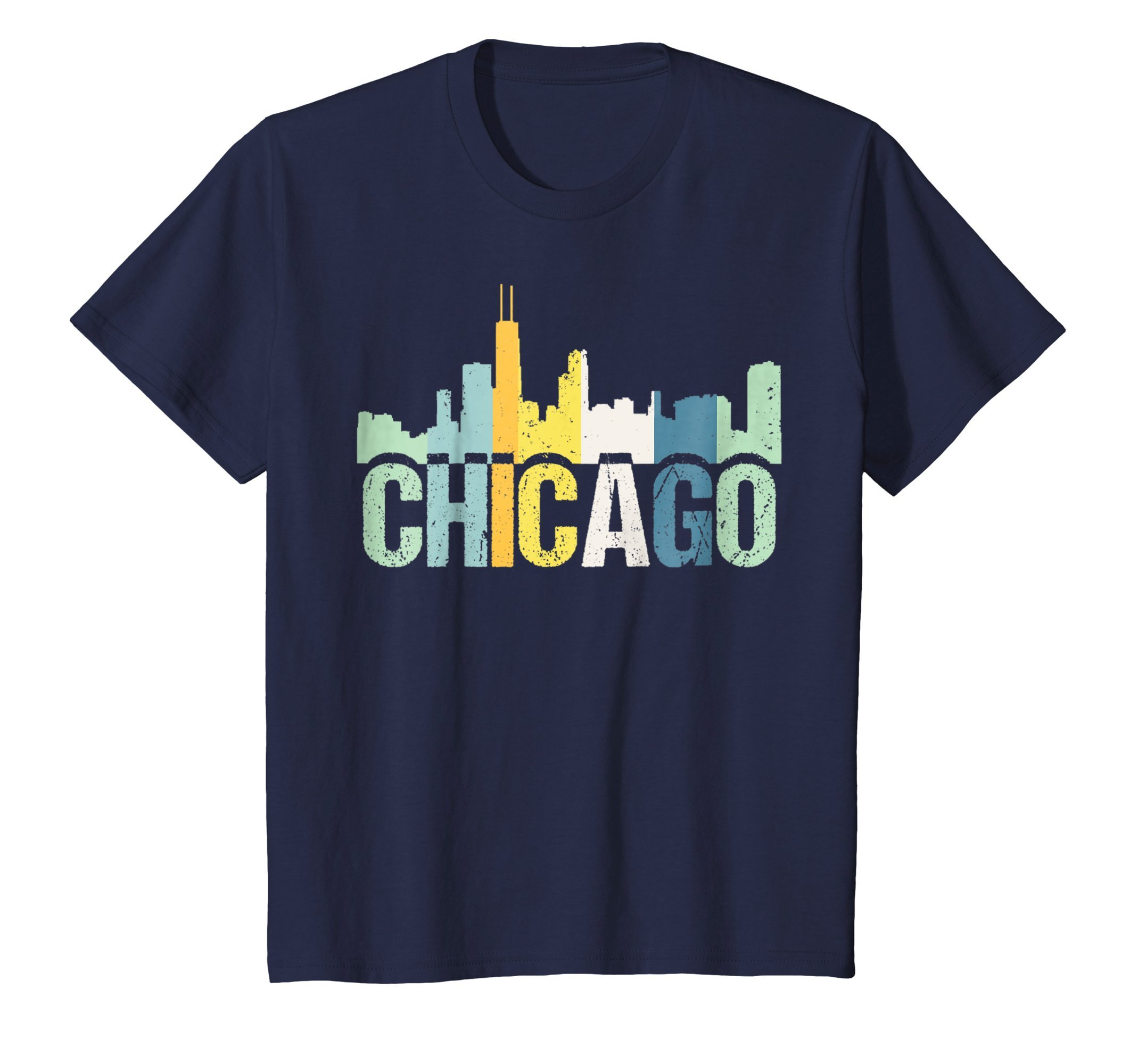 Kids Chicago City T-Shirt, Retro Color Illinois Souvenir T Shirt 10 Navy