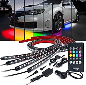 POWLAB Undercar Light,4Pcs Car LED Neon Glow Light Atmosphere Decorative Light Strip,Underbody System Waterproof Tube RGB 8 Color Sound Active Function with Wireless Remote Control