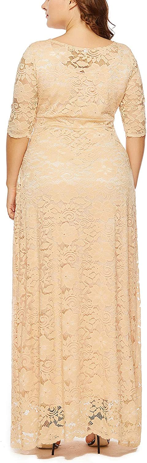Women High Waist Plus Size Gown Lined Retro Gown Flare Floral Plus Size Maxi Dress Bridesmaid Swing Gown Solid Evening Plus Size Long Dress Beige 5XL