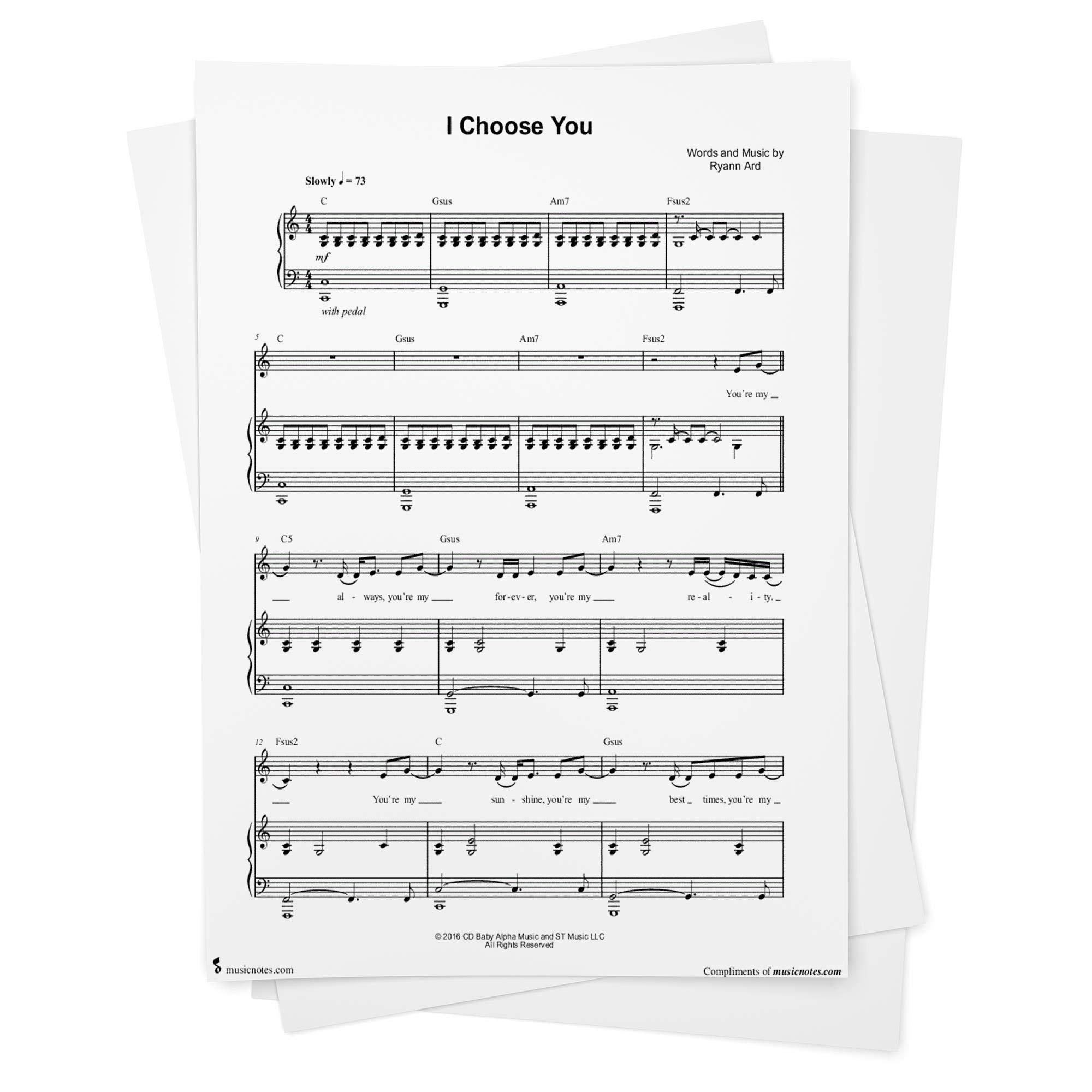 I Choose You Sheet Music by Ryann Darling   Piano/Vocal/Chords ...