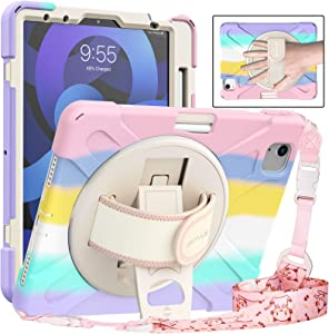 """BATYUE iPad Air 4 10.9"""" Case, iPad 11 Case 2021/2020/2018, Shockproof Case with Shoulder Strap, Hand Strap, Pencil Holder, Kickstand,ipad Air 4th Generation Case for Kids,Boys,Girls (Colourful Pink)"""