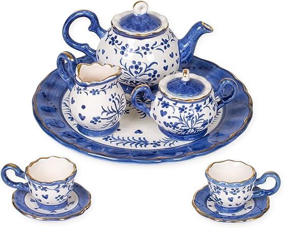 Tea Party Set Pink Polka Dot Bow Design Porcelain Children/'s 10 pc