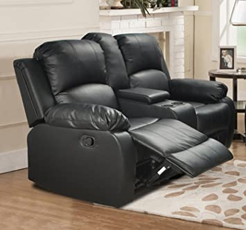 beverly furniture 1 piece leather loveseat with drop down table and 2 recliners black - Loveseat Recliners