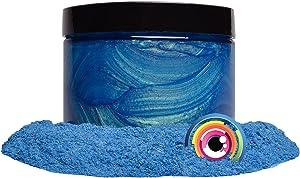 "Mica Powder Pigment ""Rainbow Blue"" (50g) Multipurpose DIY Arts and Crafts Additive | Woodworking, Epoxy, Resin, Natural Bath Bombs, Paint, Soap, Nail Polish, Lip Balm (Rainbow Blue, 50G)"