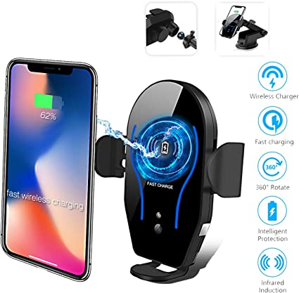 Wireless Car Charger,15W//10W//7.5W Auto-Clamping Qi Fast Charging Car Wireless Mount,Air Vent Car Phone Charger Holder Compatible with Samsung Note10//9//S10//S10+//S9//S9+ iPhone 11//11 Pro//Xs//XR//X