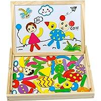 Puzzle en Bois Magnétique Double Face Tableau Aimanté Puzzle Tableau Jouet Bois Blanc Noir Planche à Dessin Jeu Educatif pour Enfants Fille Garcon âgés 3 4 Ans et Plus