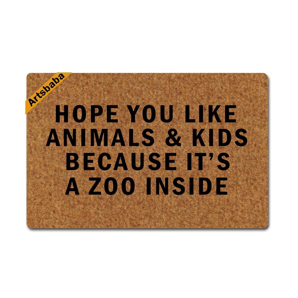 Artsbaba Doormat Personalized Door Mat Hope You Like Animals And Kids Because It's A Zoo Inside Doormat Monogram Non-Slip Doormat Non-woven Fabric Floor Mat Indoor Entrance Rug Decor Mat 23.6'' x 15.7''