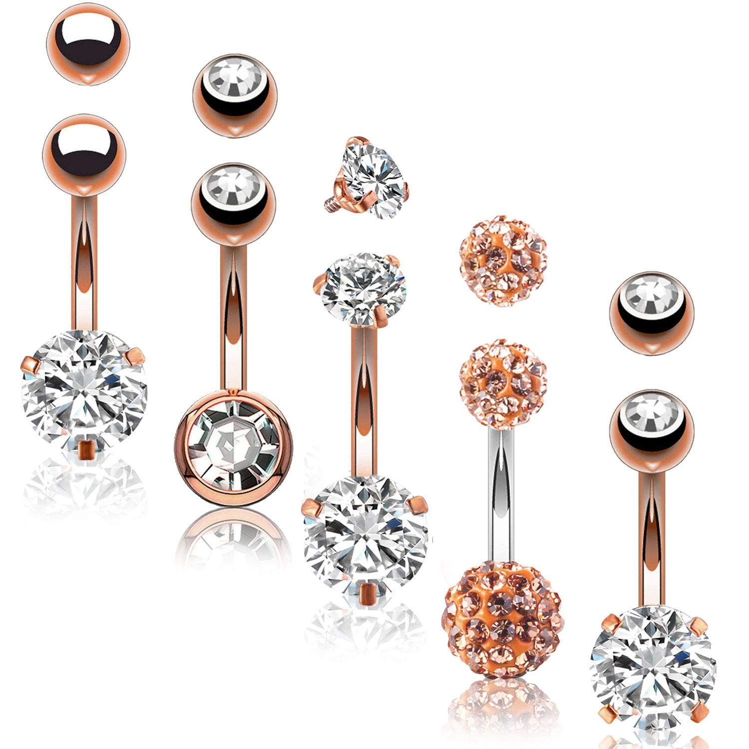 BodyJ4You 5PC Belly Button Rings 14G Rose Goldtone Stainless Steel CZ Navel Body Piercing Jewelry Set by BodyJ4You