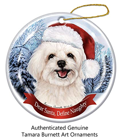 Image Unavailable. Image not available for. Color  Holiday Pet Gifts  Maltipoo Santa Hat Dog Porcelain Christmas Tree Ornament 1a9235459