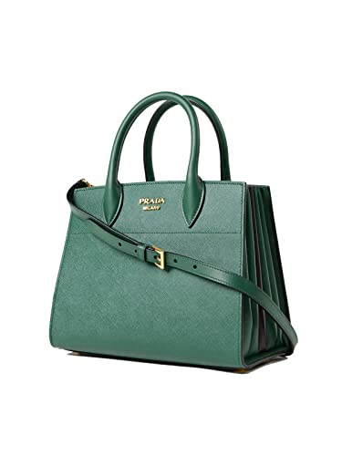 6a207ff195db Prada Bibliothèque Tote Saffiano City Leather Green and Black Handbag  1BA049: Handbags: Amazon.com