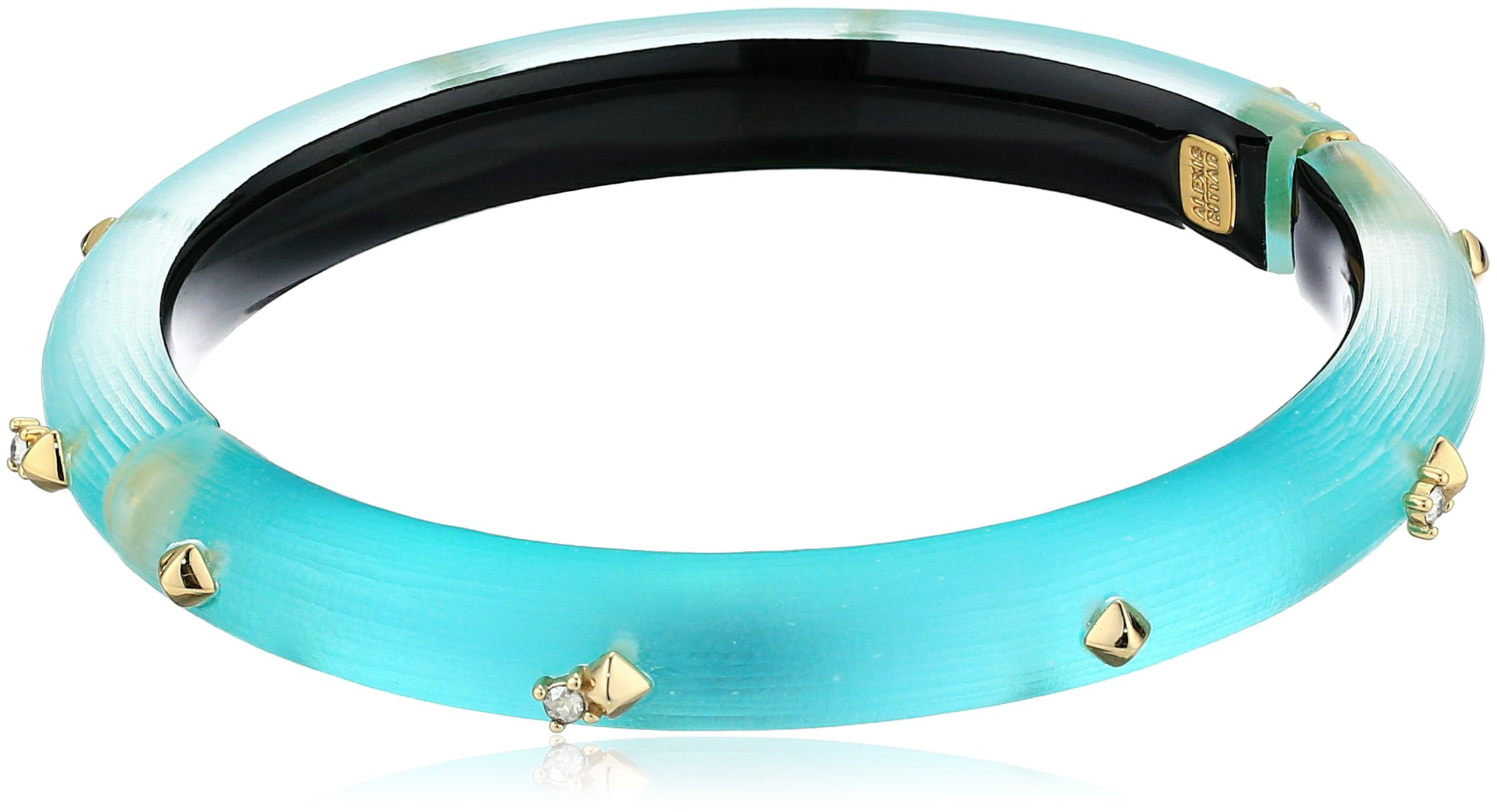 Alexis Bittar Golden Studded Hinge Bracelet, Mint Green, One Size
