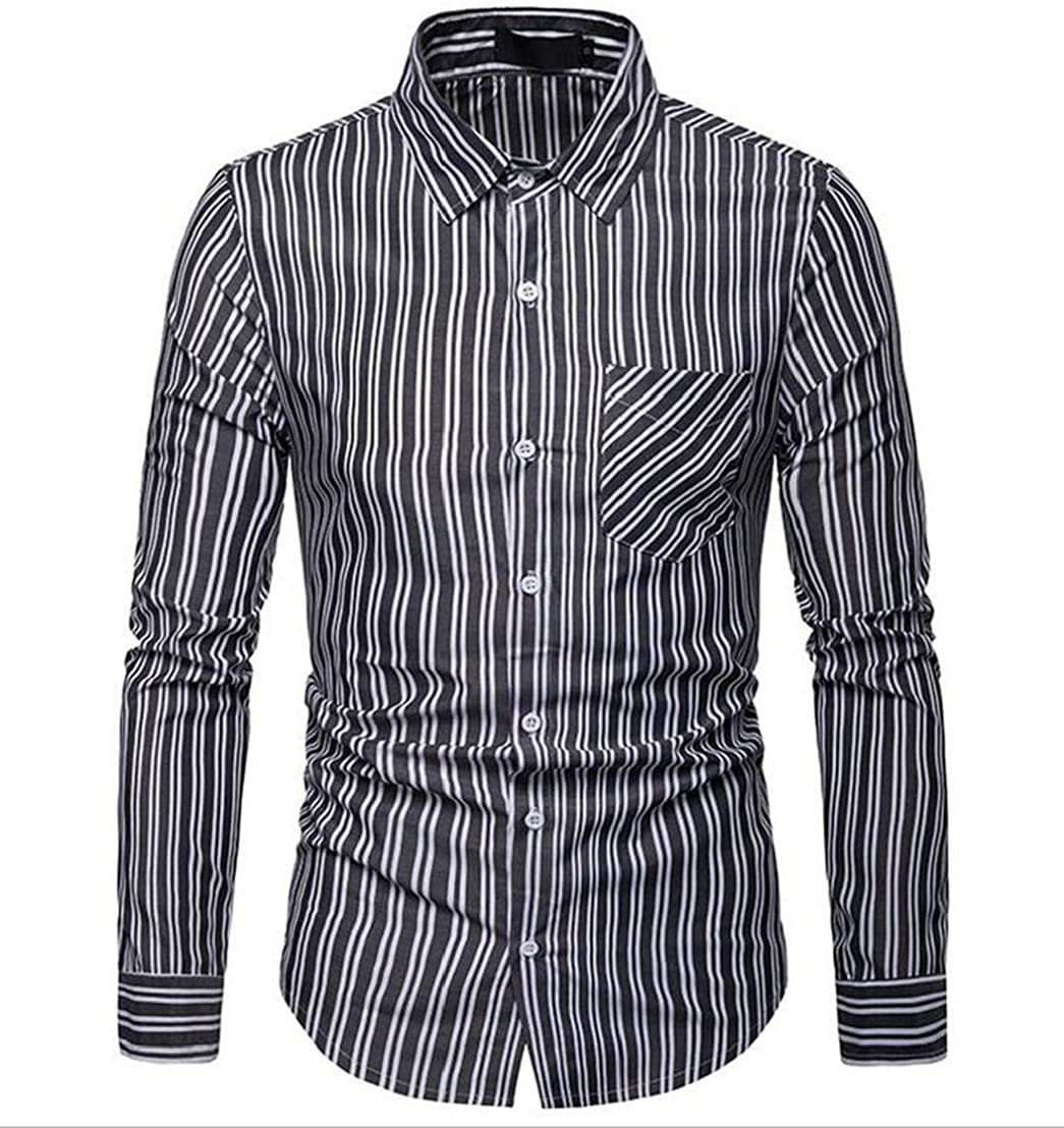 UUYUK Men Long Sleeve Stylish Stripe Print Casual Business Slim Fit Shirt