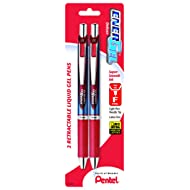 Pentel EnerGel Deluxe RTX Retractable Liquid Gel Pen, 0.5mm, Needle Tip, Red Ink, 2 Pack (BLN75BP2B)