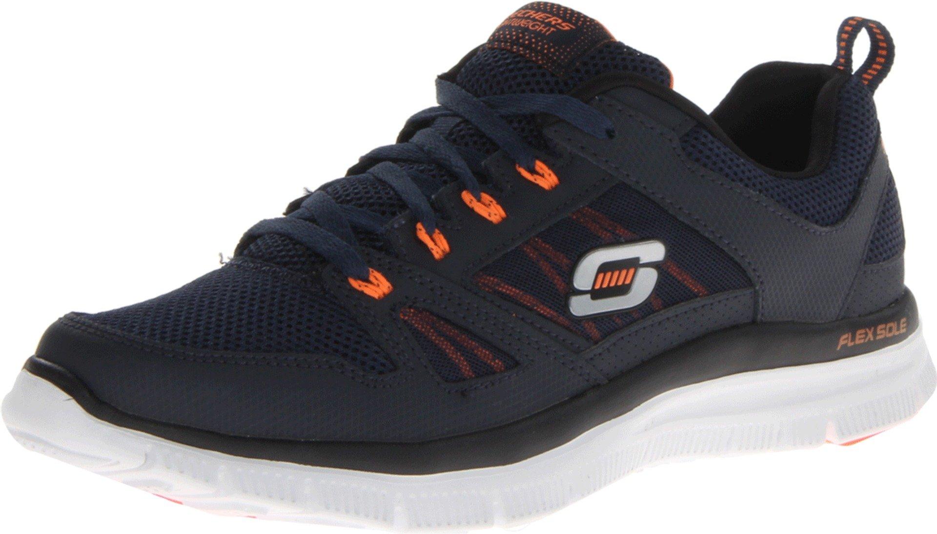 Skechers Men's Flex Advantage Tune In Memory Foam Training Shoe,Navy/Orange,10.5 M US