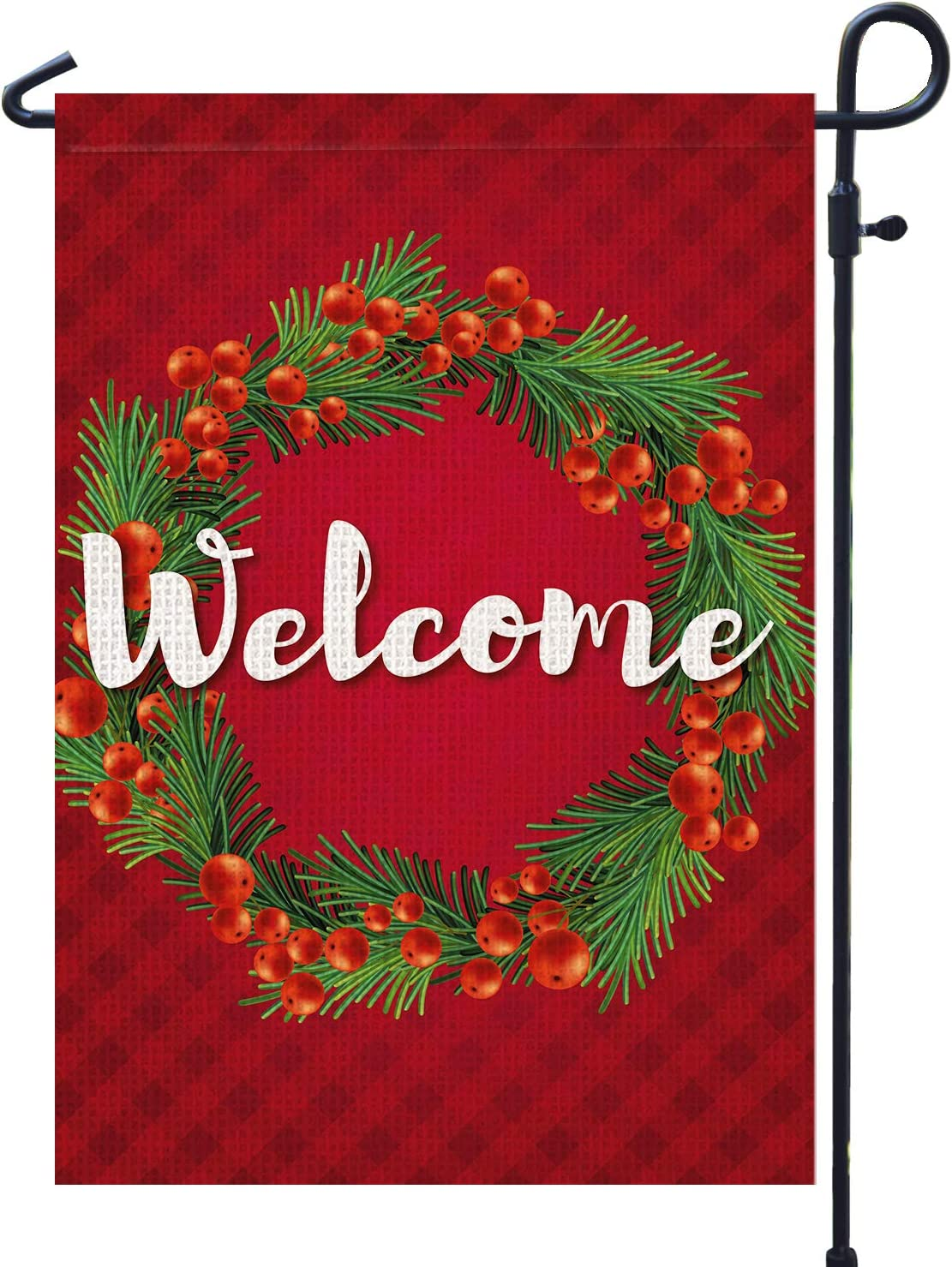 PAMBO Winter Garden Flag Burlap 12x18 Double Sided Verticle - Christmas Red Berry Wreath Welcome Garden Flag for Outside Yard Decoration