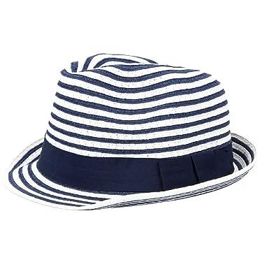 f1b2da65729 YQ Unisex Baby Summer Pinstripe Straw Fedora Trilby Hats Kids Size S Blue   Amazon.co.uk  Clothing