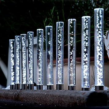 Garten Solarleuchten edelstahl acryl solar led garten sticks 10 er set solarleuchte