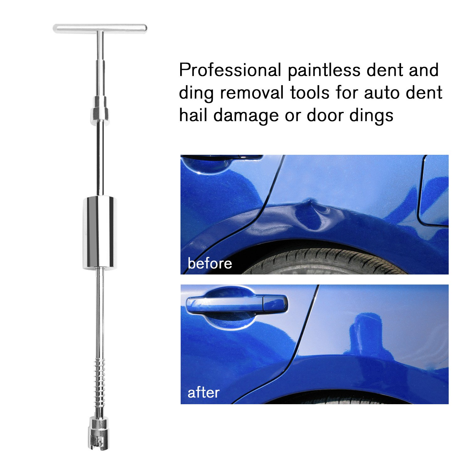 BETIMESYU 32PCS Dent Remover Repair Tools Kits Dent Puller Paintless Slide Hammer with Glue Gun Sticks for Vehicle Car Auto Body Damage Remover by BETIMESYU (Image #8)