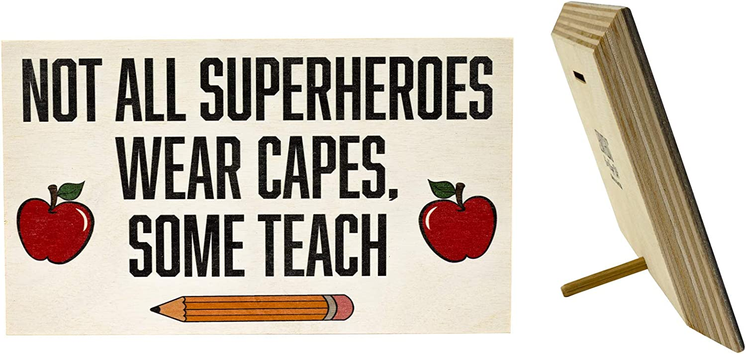 JennyGems Not All Superheroes Wear Capes Some Teach | for Teachers | Teacher Appreciation Gift, Gifts | End of Year Present | Teacher Signs, Educator | Made in USA