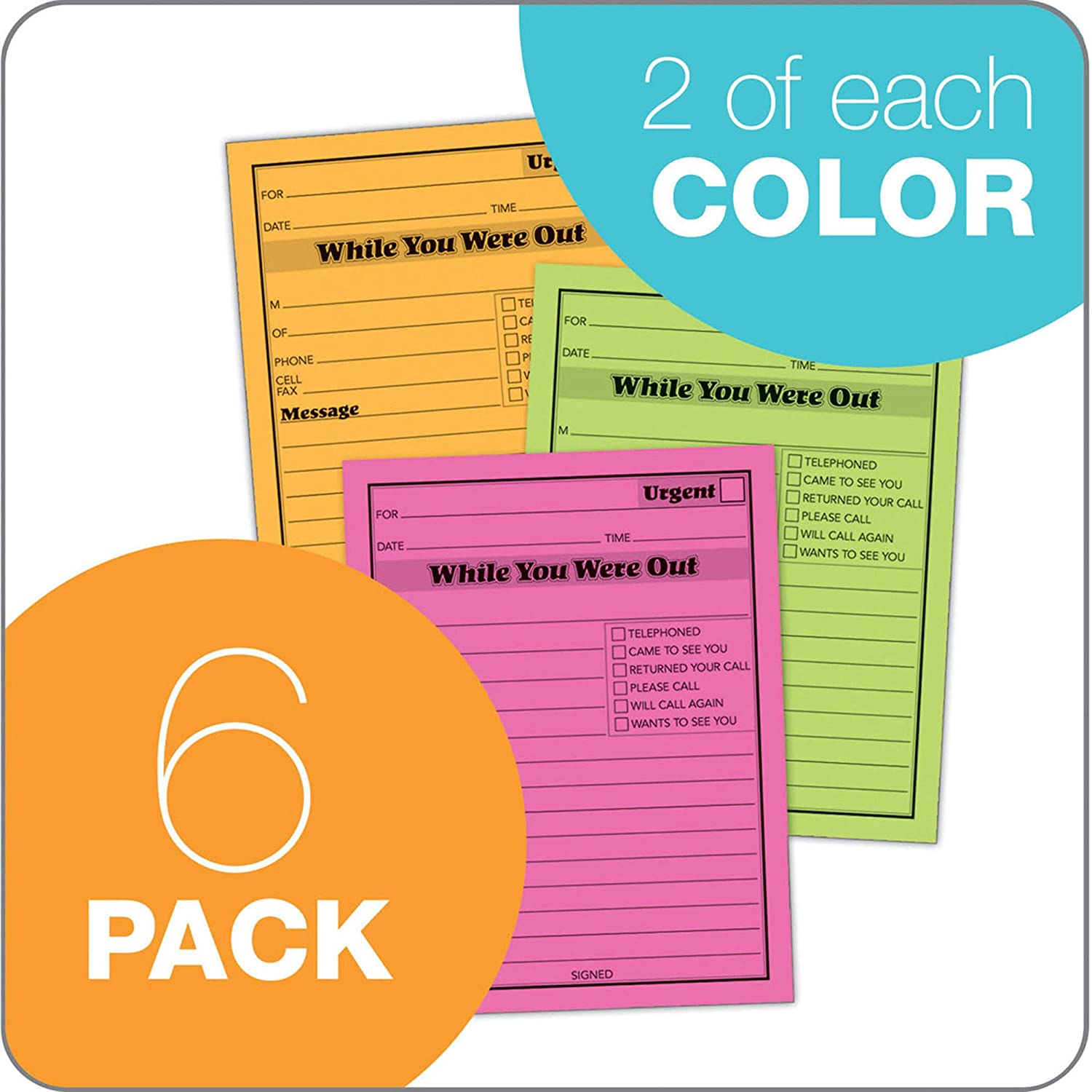 36 Pads Total 50 Sheets per Pad Adams While You were Out Pads 12 Pads per Pack 3 Pack Pink 9711D 4.25 x 5.5 Inches