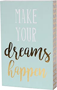 SANY DAYO HOME 7 x 5 inches Wooden Box Sign with Inspirational Saying for Office and Home Decor - Make Your Dreams Happen
