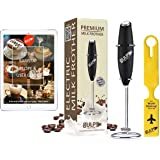 gulp Milk Frother for Coffee Handheld Battery Operated Electric Foam Maker Mixer with Stainless Steel Whisk and Stand, Travel Luggage Tag, 30 Barista Recipes ebook (Black)