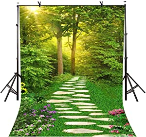 VVM 7x5ft Spring Scenery Backdrop Forest Path Sunshine Flower Photography Background Natural Scenery Photo Shoot Props LXVV171