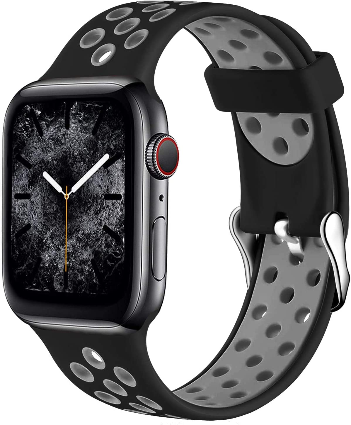 Band4u Compatible with Apple Watch Bands 44mm 42mm 40mm 38mm, Soft Silicone Sport Band Replacement Strap with Classic Clasp for iWatch Series SE 6 5 4 3 2 1 for Women Men