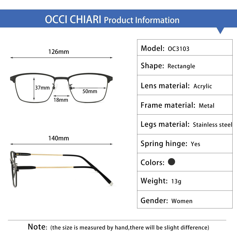 OCCI CHIARI Optical Eyewear Non-prescription Eyeglasses Metal Spring Hinge Rectangle Glasses Frame For Men TR90 Black