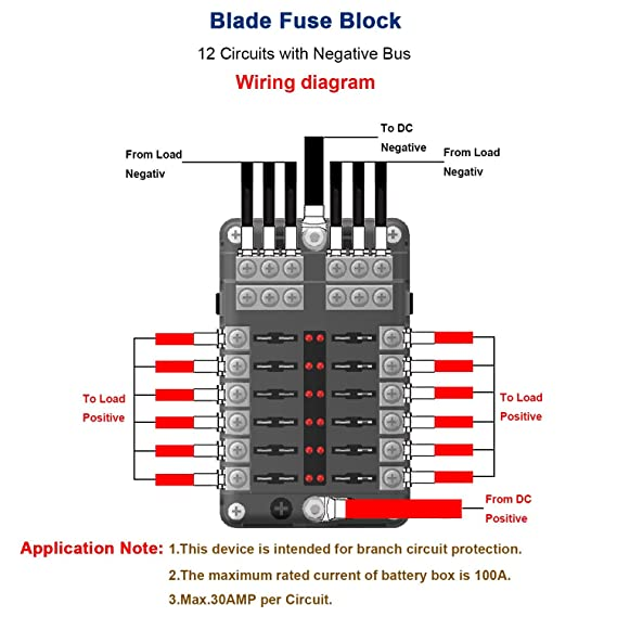 amazon com turn raise 12 way blade fuse block,dc 32v 100 ampamazon com turn raise 12 way blade fuse block,dc 32v 100 amp standard fuse holder box with led indicatorfor dual independent positive connections