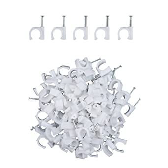 100 Plastic Electrical Wire Cable Clips TV Phone Internet Lead Fixings Clips