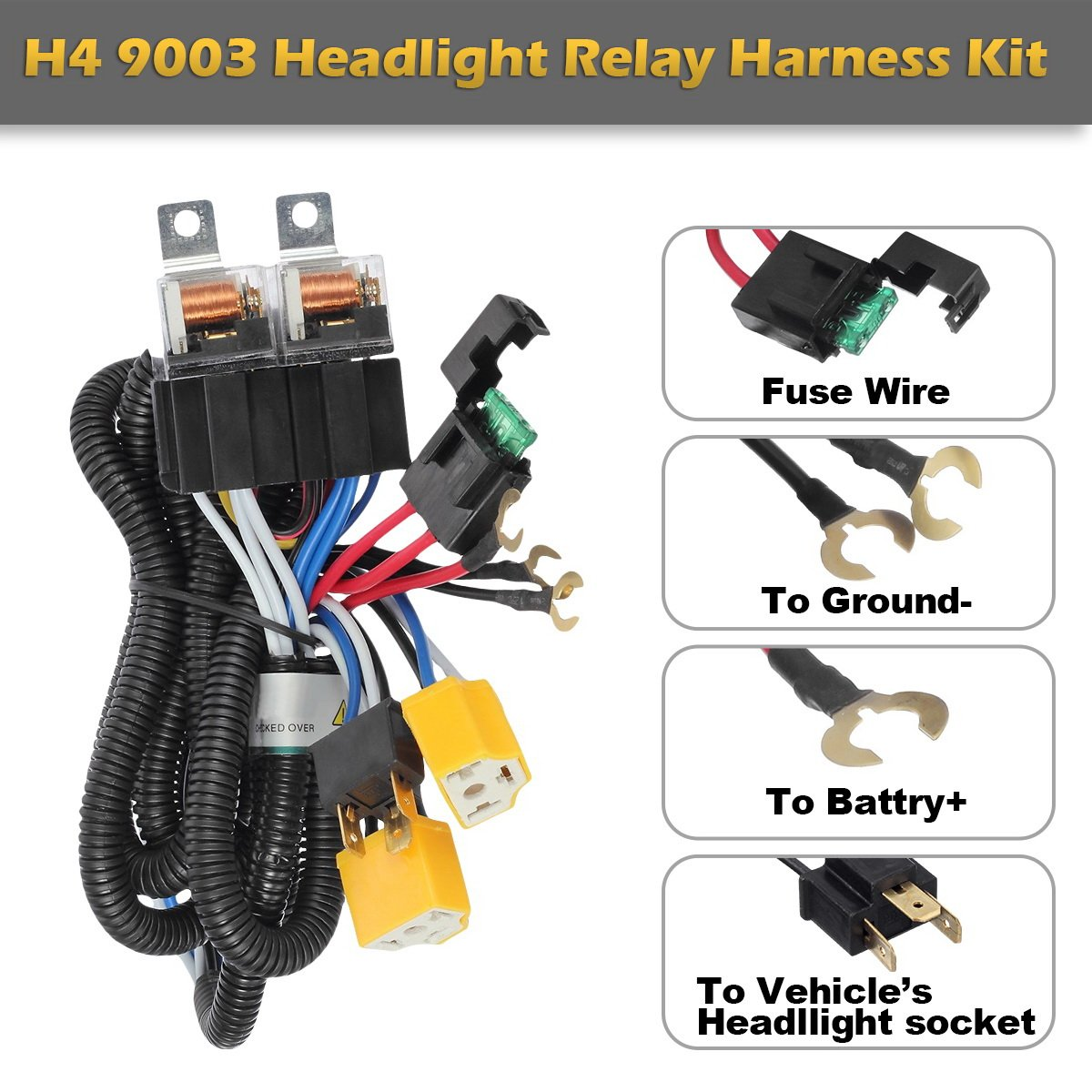 Partsam H4 9003 Headlight Relay Wiring Harness Kit High Switch Low Beam Heat Ceramic Socket Plugs Hid Conversion For Toyota Pickup Tacoma 7x6 5x7