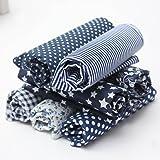 KINGSO 7PCS Cotton Fabric Bundles Quilting Sewing DIY Craft 19.7x19.7inch Dark Blue