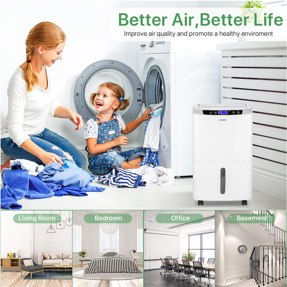 Continuously Removes 5 Gallons of Moisture//Day in Spaces up to 2000 Sq Waykar 40 Pint Dehumidifier for Home Basements Bedroom with Drain Hose and Intelligent Humidity Control 30 Pint New DOE 2019 Ft