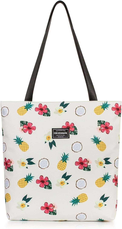 Golden Pineapple Waterproof Leather Folded Messenger Nylon Bag Travel Tote Hopping Folding School Handbags