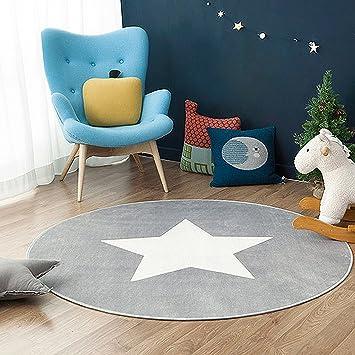Schön GWELL Sterne Fußmatten Runde Teppich Kinderzimmer Weich Plüsch Anti Rutsch  Kinderteppich Für Schlafzimmer Wohnzimmer (