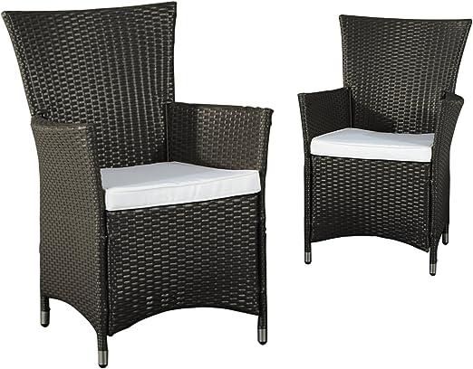 Outsunny - Juego de 2 sillones de jardín o terraza (resina trenzada, cojines con fundas extraíbles), color marrón oscuro: Amazon.es: Jardín