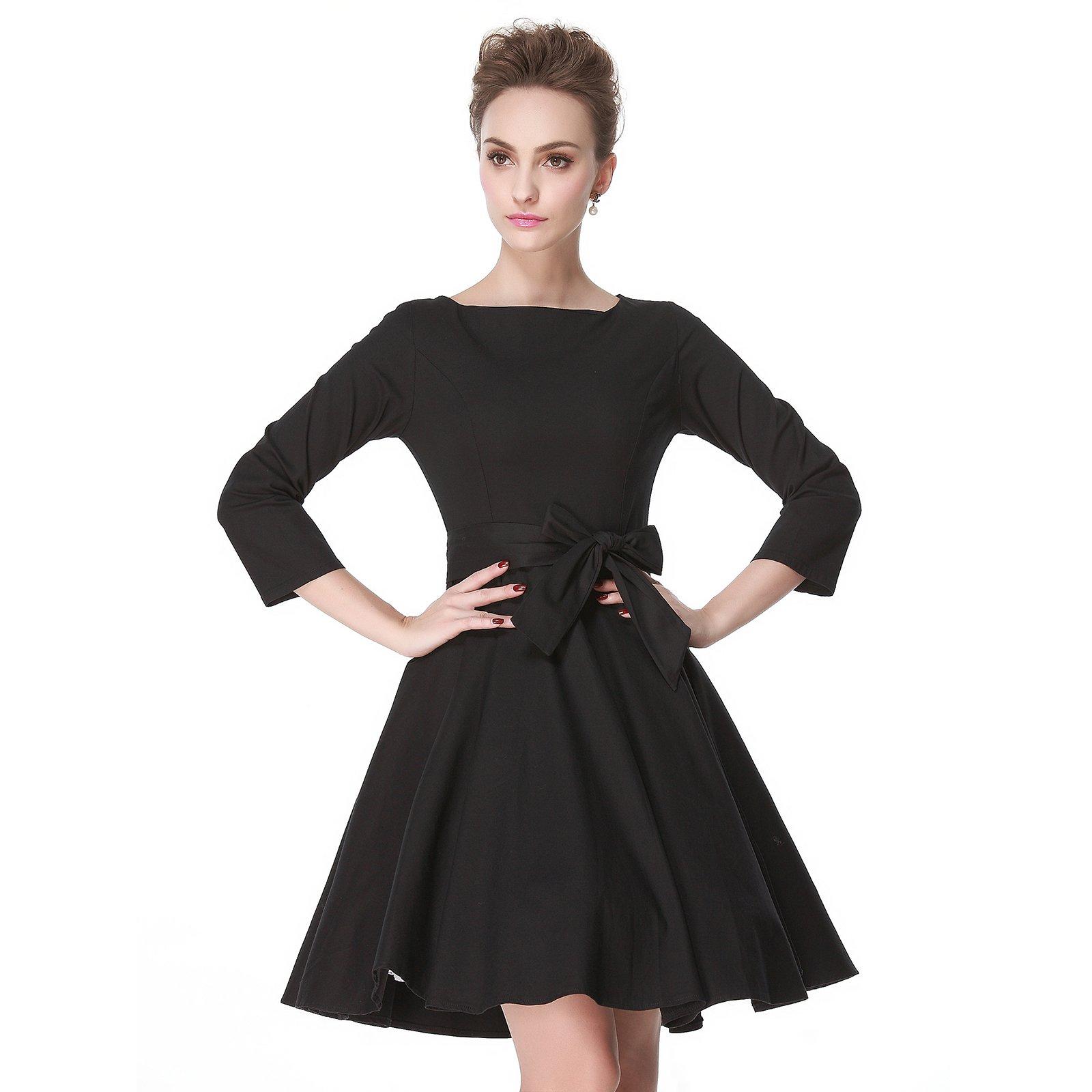 Heroecol 50s 60s Hepburn 3/4 Sleeve Style Vintage Retro Swing Rockailly Dresses Size XL Color Black by Heroecol (Image #3)