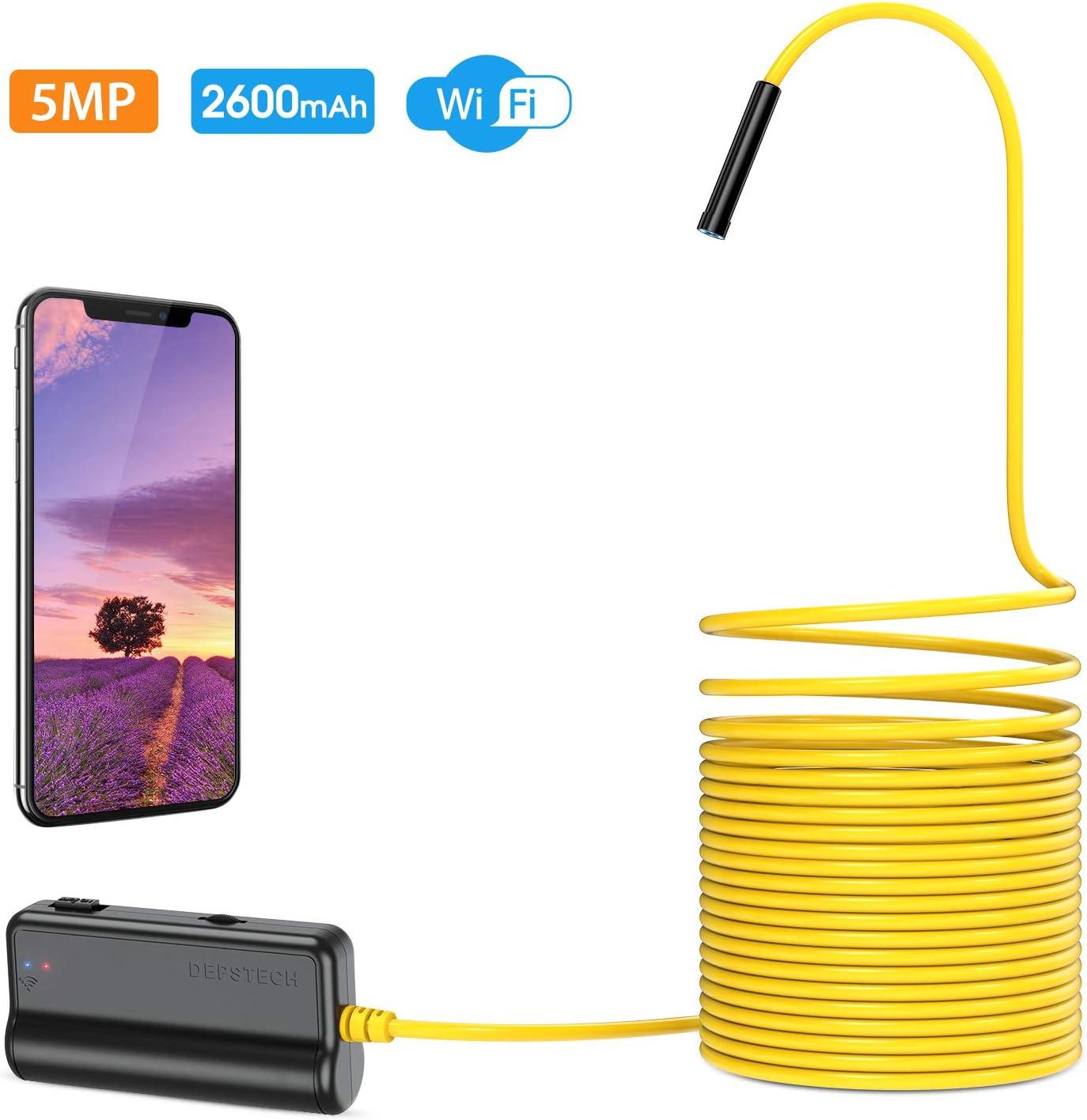 DEPSTECH Endoscopio Inalámbrico 5.0MP, WiFi Cámara de Inspección HD Boroscopio Distancia Focal de 16 Pulgadas, Batería 2600mAh para iOS, Android, iPhone, Tableta- 5M