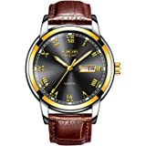 Mens Black Watches Waterproof 30M Date Calendar Wrist Watch for Men Teenager Boys,Leather Band Fashion Casual Luxury Business Men Sport Watches
