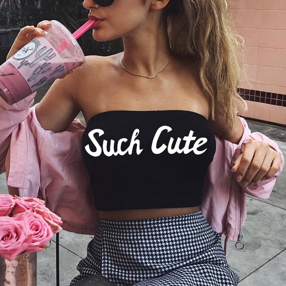 Sexy Fashion Womens Tank Tops,Letter Print Casual Tank Tops Vest Halter Slim Tube top Vest Black by AOmahh-vest (Image #4)