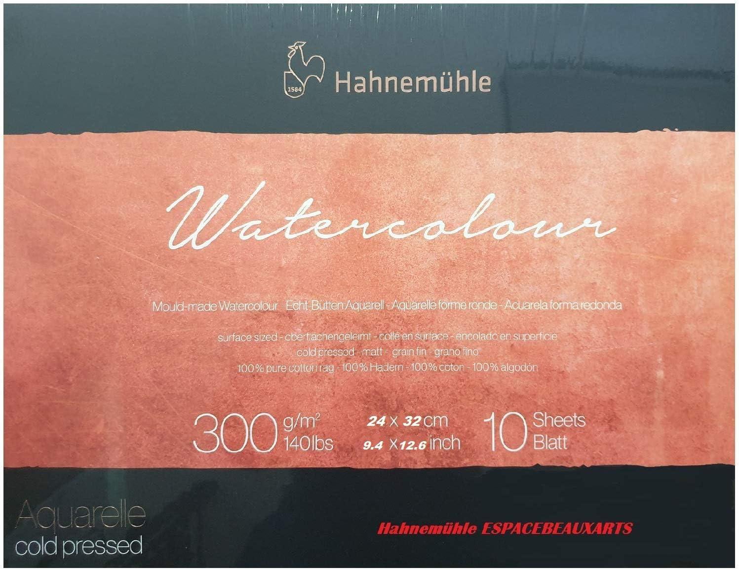 Hahnemühle - Bloque de acuarela, 10 hojas, 300 g, 24 x 32 cm, 100 ...