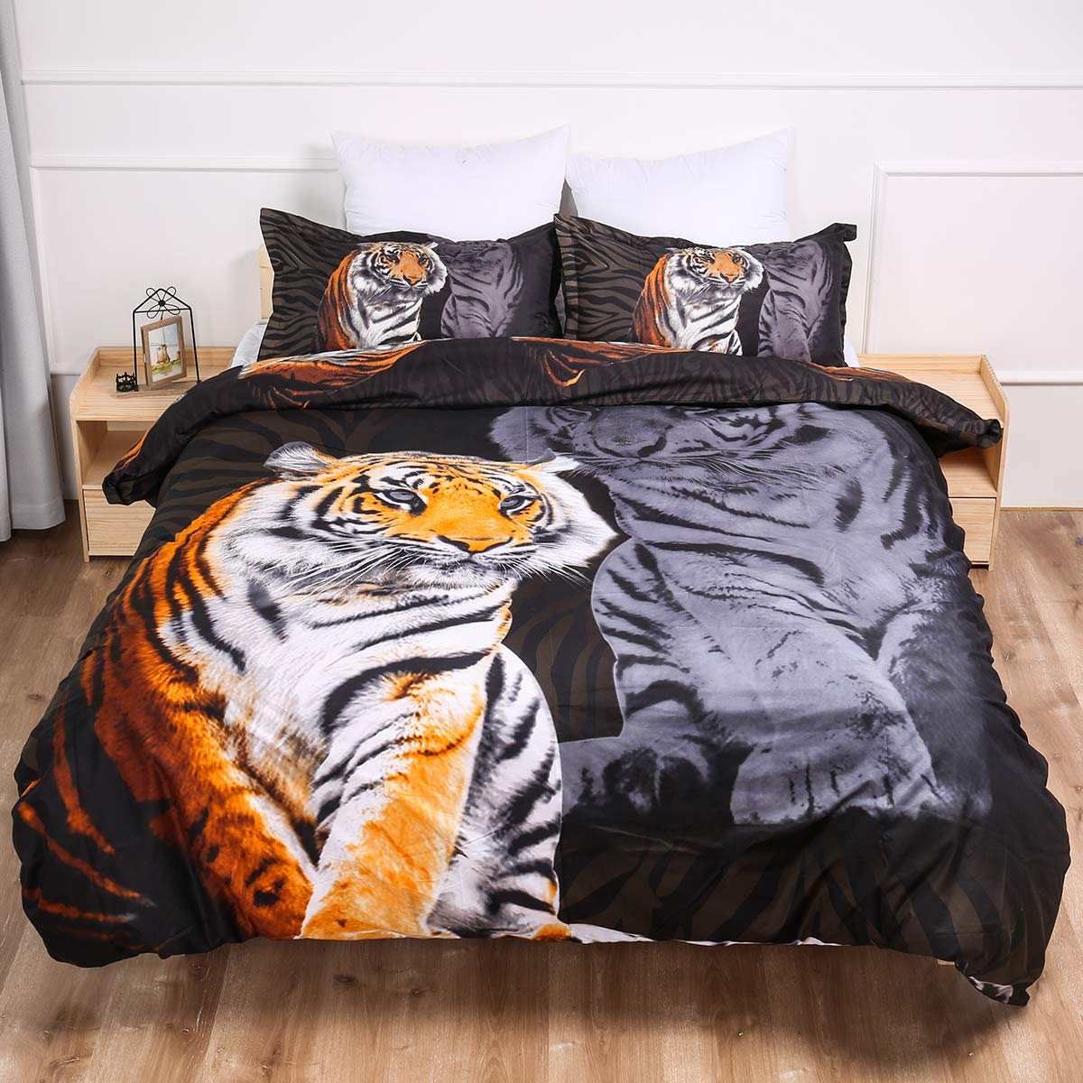 """Guidear 3D Printed Yellow Tiger Bedding Set for Boys Kids, 3 Pieces White Tiger Duvet Cover with 2 Pillowcases,Microfiber Black Comforter Cover with Zipper Closure Queen Size 90"""" x 90""""(Not Comforter)"""